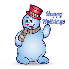 Cheerful christmas snowman in hat and scarf, shows tongue, cartoon on white background,