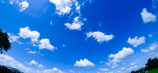 Fisheye lens picture of clouds on blue sky.