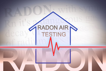 The danger of radon gas in our homes - concept image with check-up chart about radon level testing