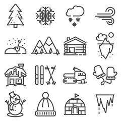 Winter icons collection - vector silhouette.