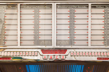 Old jukebox with empty music labe