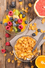 cornflakes and fruit salad