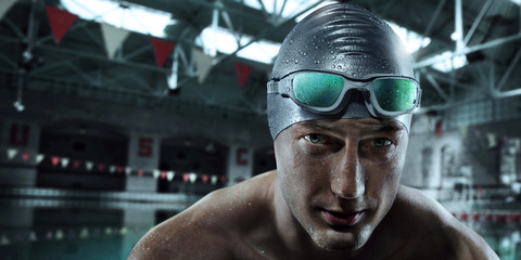 Sport background. Swimmer with glasses.
