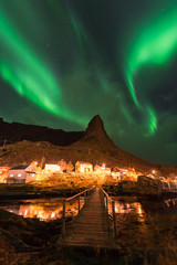 Northern lights over the Reine fishing village, Lofoten islands