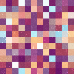 Vintage seamless abstract background with brown, blue squares, vector illustration