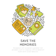 Save the memories travel icons. Concept icon design about travel, adventure and collect moments. Round icon travel illustration collection moments, not things