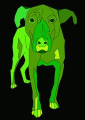 green cartoon dog vector art. Unusual painting