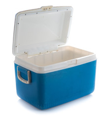Handheld blue refrigerator isolated on white background