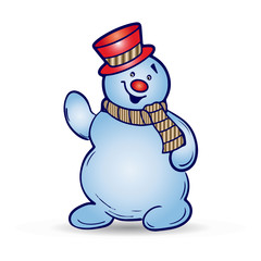 Cheerful christmas snowman in hat and scarf, cartoon on white background,