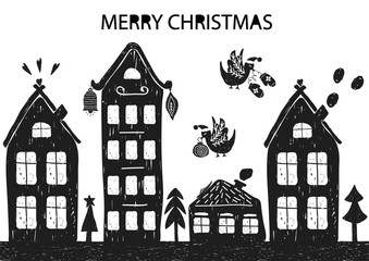 Christmas holiday card with hand drawn style