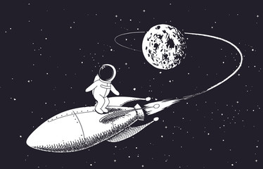 astronaut flies from the Moon on rocket.Childish vector illustration.Prints design