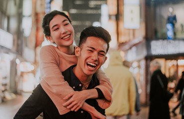 Aluminium Prints Asian Famous Place Young japanese couple spending time together in Tokyo