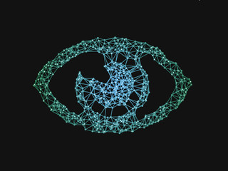 Eye symbol with network line. A concept of virtual reality, internet surveillance, face recognition