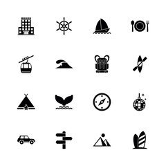 Vacation icons - Expand to any size - Change to any colour. Flat Vector Icons - Black Illustration on White Background.