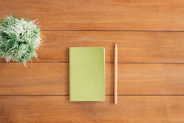 Minimal work space - Creative flat lay photo of workspace desk. Office desk wooden table background with open mock up notebooks and pens and plant. Top view with copy space, flat lay photography.