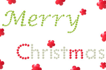 Merry Christmas word from flower shaped fruit on white background