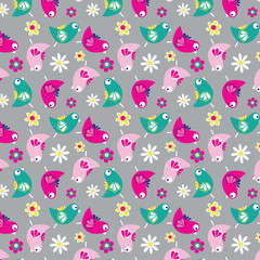 cute bird seamless pattern