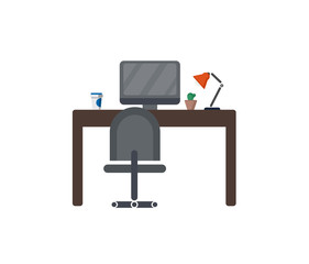Furniture for the workplace. Cozy and comfortable environment in the office. Concept vacancies. Empty workplace. Workplace without an employee. A flat icon. Vector Design