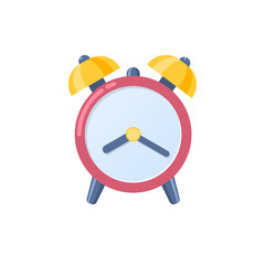 Alarm clock icon, wake-up time in school and at work.