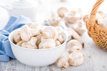 Fresh champimgon mushrooms, raw fungi