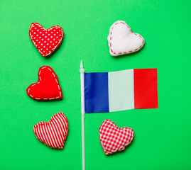 Valentines Day heart shapes and flag of France
