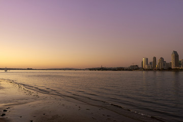 San Diego Skyline at dusk and during the golden hour
