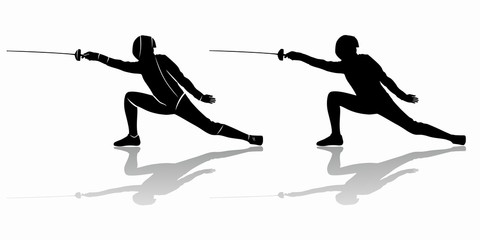 silhouette of a fencer , vector draw