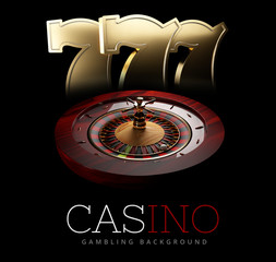 Casino Roulette Wheel with a slot machine signs. isolated black, 3D Rendering.