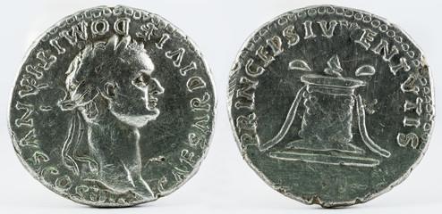 Ancient Roman silver denarius coin of Emperor Domitian.