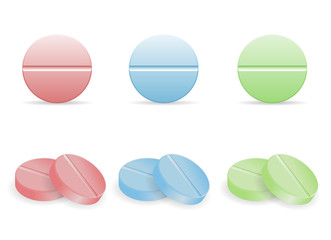 Set of colorful pills in round form. Collection of circular-shaped tablets. Medicine and drugs.