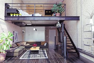modern loft interior design.