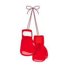 Hanging boxing gloves.