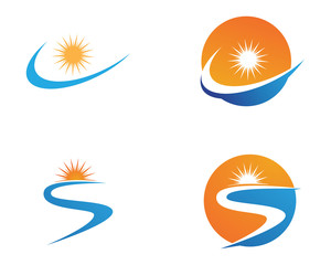 River and sun Logo symbolsTemplate icons