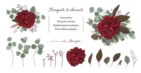 Vector floral bouquet design with: garden red burgundy Rose flower, seeded Eucalyptus branch & silver green fern leaves, Watercolor designer editable elements set. Marsala wedding invite card postcard