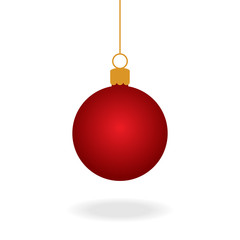 Fotobehang Bol Realistic red christmas ball ornament, vector graphic illustration. Red xmas ball on string with shadow under.