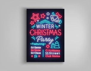 Christmas party invitation, brochure, poster. Merry Christmas, festive card in neon style. Postcard, flyer, bright sacred banner, neon advertising for your holiday projects