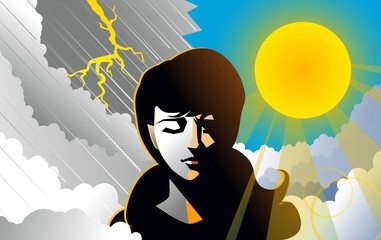 bipolar woman with rain and sun backgrounds