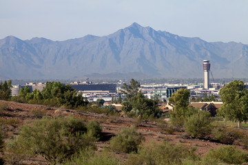 The mountains loom over the airport in Arizona