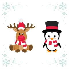 cartoon christmas deer and cute penguin