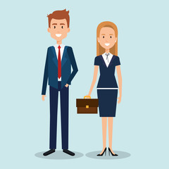 couple of professional workers vector illustration design