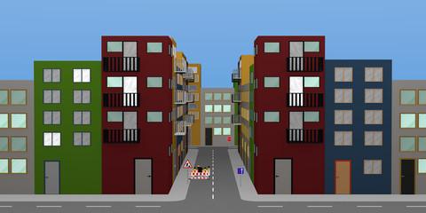Stadtlandschaft mit bunten Häusern, Baustelle und Straßenschildern.