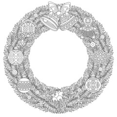 Coloring page with Christmas wreath, holiday ornaments, jingle bells and christmas balls. Freehand sketch drawing for 2018 Happy New Year greeting card or adult antistress coloring book.