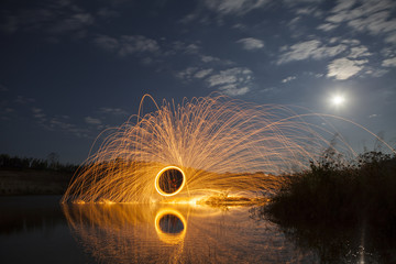 A ring of fire at the lake, Burning steel wool.