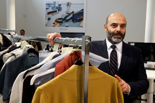 """Sebastien Fabre, founder and CEO of """"Vestiaire Collective"""" an online marketplace to buy and sell pre-owned designer clothing and accessories, poses in Tourcoing"""