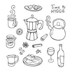 hand-drawn tea set