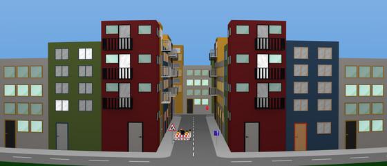 Stadtlandschaft mit bunten Häusern, Baustelle und Straßenschildern. Panorama,