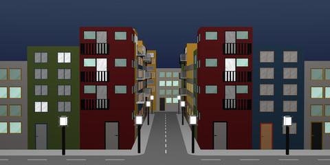 Stadtlandschaft mit bunten Häusern und Straßenlaternen. Nahtlos,