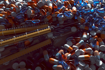 Tabletten und Spritzen