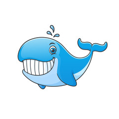 Happy cartoon whale vector illustration isolated on white