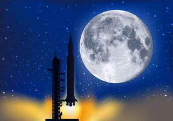 lune - fusée - décollage - astronaute - cosmonaute - espace - pas de tir - exploration - symbole